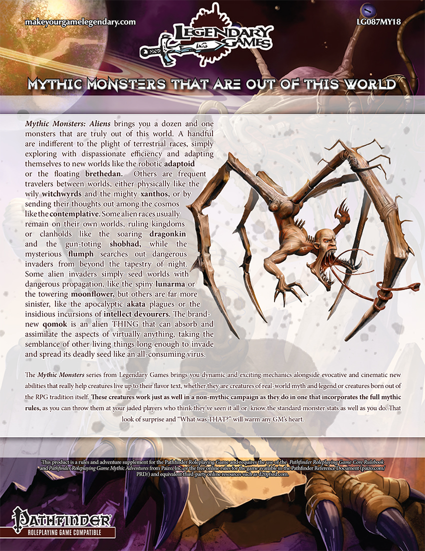 Mythic Monsters Aliens (back cover)