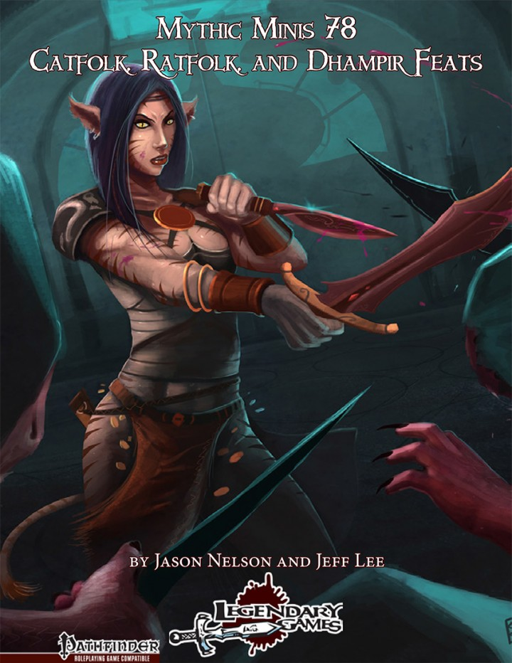 Mythic Minis 78 - Catfolk, Ratfolk, and Dhampir Feats cover
